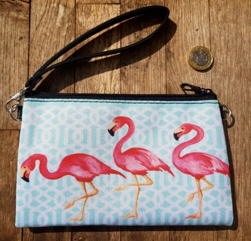Pink Flamingo Purse Tropical Hibiscus Blue Summer Holiday Clutch Bag