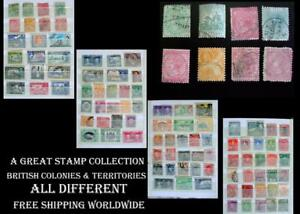 Stamp Collection British Colonies India Barbados Natal NZ N.S.W. Mauritius Ext.