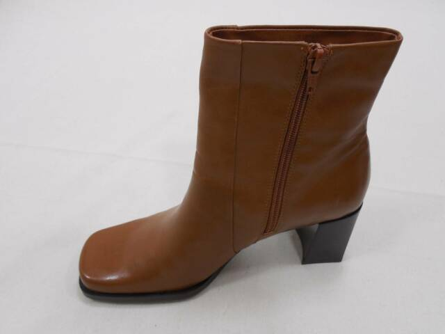 bf3b2f79a6c Nine   Co Womens Ankle Leather Boots Side Zip Up 6 M Camel Brown Block Heel