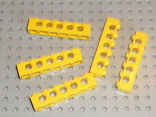 Barres perforées LEGO TECHNIC yellow  bricks with holes 1 x 6 ref 3894