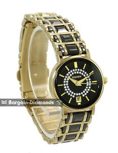98052b1af lady Elgin black ceramic gold tone calendar watch petite bracelet ...