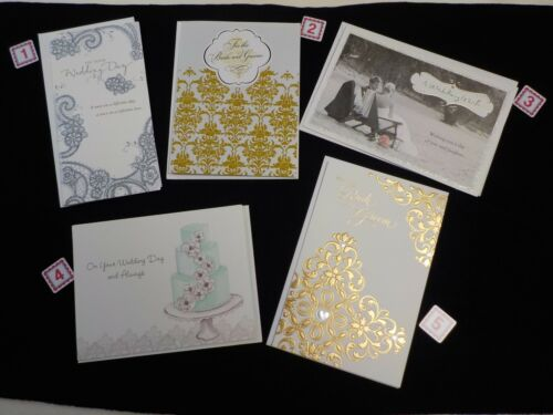 AMERICAN GREETINGS LOT OF 5 BEAUTIFUL WEDDING CARDS BRIDE /& GROOM NEW #GR100