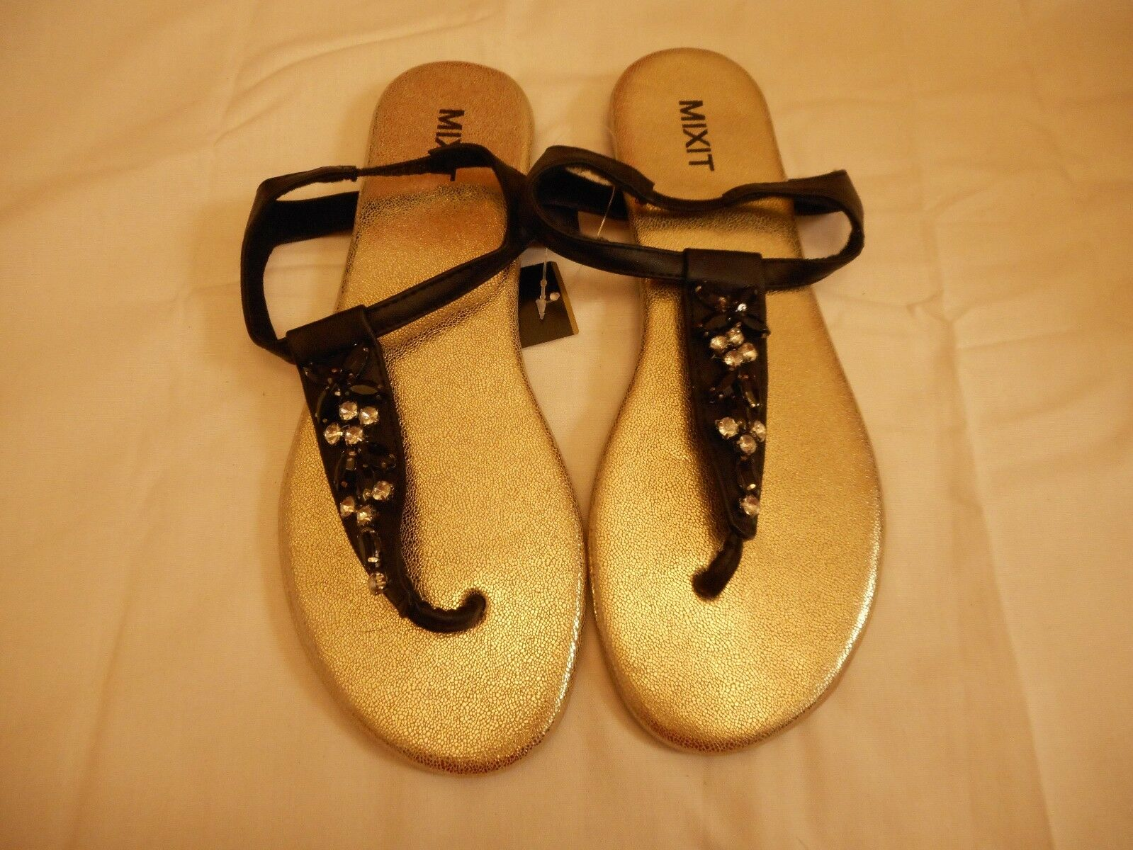 Women's Mixit   Jewel Embellished T Strap Sandals Black  Mixit Size 8 NEW 955f3c
