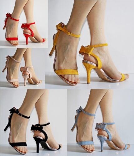 Womens Ladies Party Faux Suede Bow Back Stiletto Sandals High Heels Shoes 6768