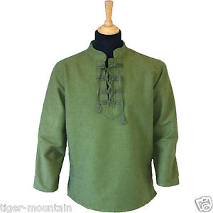 NEW-Thick-Cotton-Hippy-Long-Sleeved-Lace-Up-Grandad-Ghillie-Shirt-in-Green