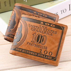 US-Dollar-Bill-Wallet-Brown-PU-Leather-Wallet-BifoldCredit-Card-Photo-Thrifty-LV