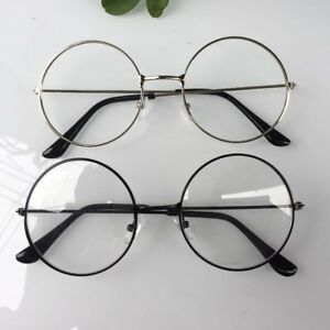 0de4cfe8cfd9 Trendy Women Men Large Oversized Metal Frame Clear Lens Round Circle ...