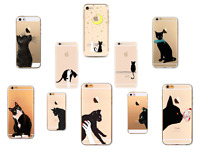 Black Cat Kitten Clear Soft Case Cover for iPhone 4/4s 5/5s/SE 5c 6/6s 7 Plus