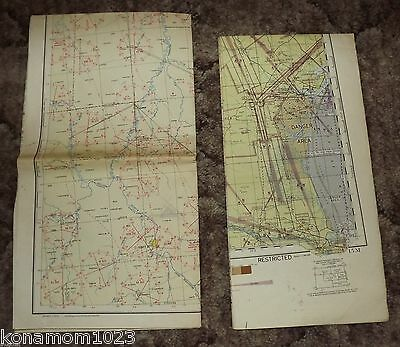 1 Lot of 2 Vintage Regional Aeronautical Charts WW II 1944-46 Dept. of Commerce