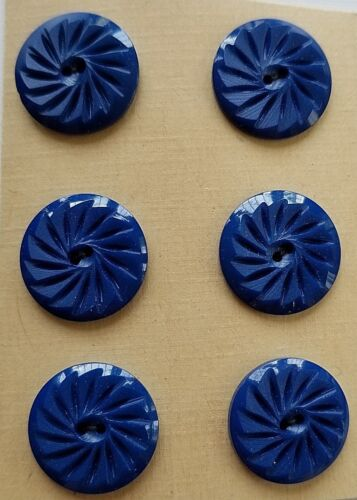 "6 Blue Casein 2-hole Carved Matt Finished 5//8/"" Buttons Vintage Buttons"