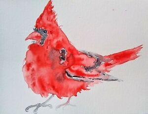 Red Christmas Cardinal Bird Art Original Watercolor Painting Nature Lover Gift Ebay