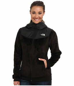 New Women s The North Face Oso Hooded Fleece Jacket Black Grey Pink ... d7deb9530