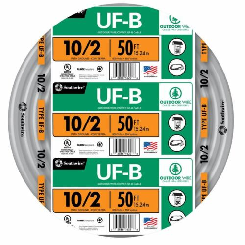 50/' Roll 10-2 AWG UF-B Gauge Outdoor Burial Electrical Feeder Copper-Wire Cable