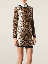 Red Valentino Leopard Hearts Jacquard Knit Sweater Dress Size Small New