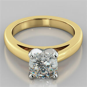 2.00 Ct Cushion Cut Moissanite Anniversary Ring 18K Real Yellow Gold ring Size 8