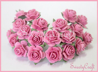 50 Pink color Mulberry Paper Rose Flower handmade size 1.5 cm. Wedding , card