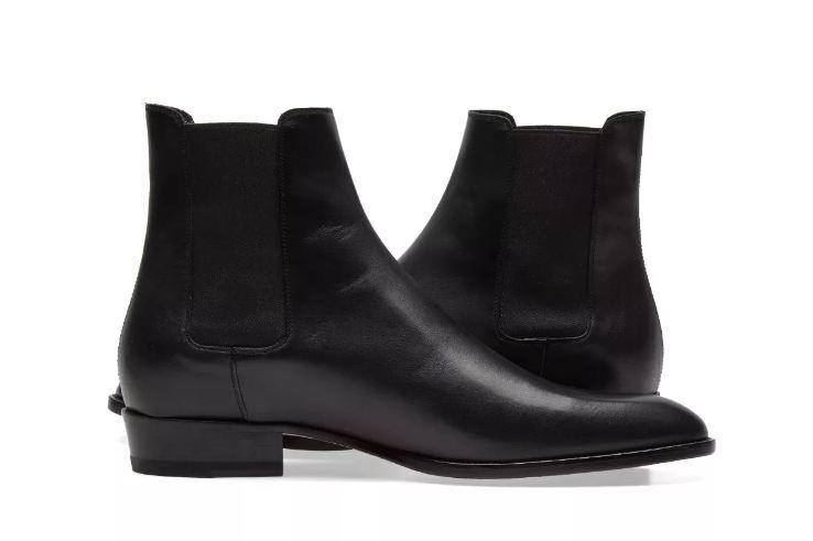 Men black Chelsea ankle high leather boots, Men fashion black leather boots