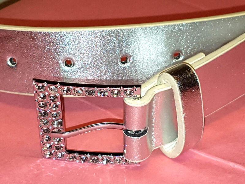 Angemessen Gü93-neu Silber 3 Cm Breit 111 Cm Lang Faux Leder Glitzer Steine M Damen Gürtel