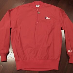 Vintage Starter Mens Large Red Philadelphia 76ers Full Zip Winter Parka Jacket