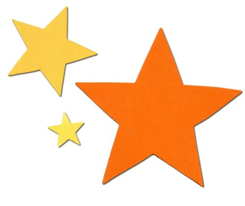 21 Die cut sizzix stars 7 of each assorted colour card making 2-8cm christmas