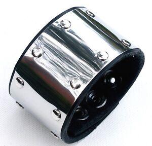 Stainless-Steel-Cuff-Wristband-Bracelet-Gothic-Steampunk-Snaps-Fastener-Popper