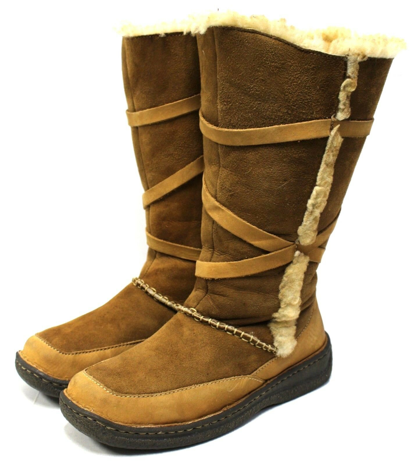 Cabela's Women 8M Winter Boots Brown Suede Leather Shearling Lining Fur Platform