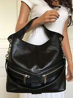 Michael Kors Large Jamesport Black Leather Shoulder Tote Bag Purse Handbag