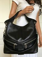 Michael Kors Large Jamesport Black Leather Shoulder Tote Bag Purse Handbag