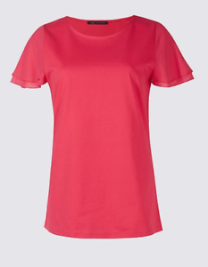 BNWT-Pretty-M-amp-S-Pure-Cotton-Flutter-Sleeve-Work-T-Shirt-PINK-Holiday-Now-6