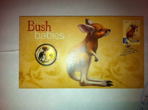 2011 $1 UNC COIN ON F D C Theme BUSH BABIES KANGAROO
