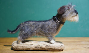 Wire-Haired-Dachshund-034-Libby-034-One-of-a-kind-needle-felted-dog-sculpture