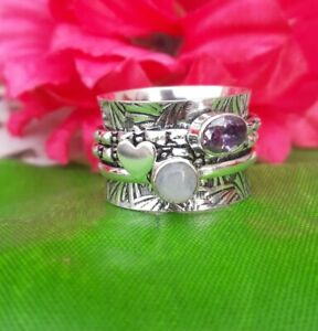 Rainbow-Moonstone-Solid-925-Sterling-Silver-Spinner-Ring-Meditation-Ring-Size-a7