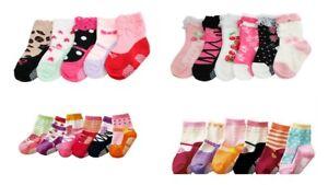 Baby-Girl-Kids-Toddler-Ballet-Mary-Jane-Socks-6-pack-Anti-Slip-Pink-Age-1-2-3-4
