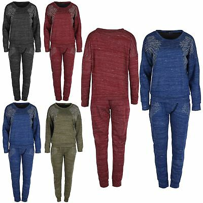 Womens Angel Diamante Sweatshirt Loungewear Ladies Top Trouser Lounge Jog Suit