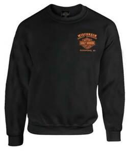 Harley-Davidson-Men-039-s-Custom-Freedom-Fleece-Pullover-Crew-Sweatshirt-Black