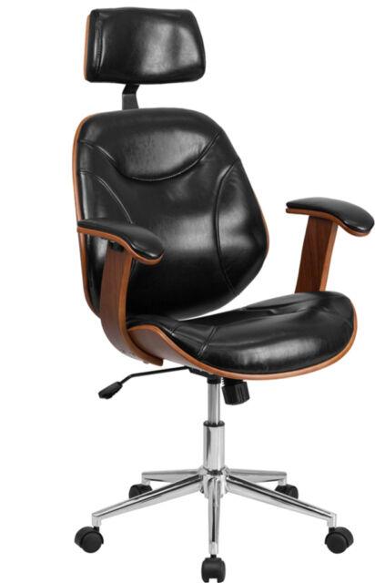 High Back Black Leather Executive Wood Swivel Office Chair  Black, Walnut   Chair