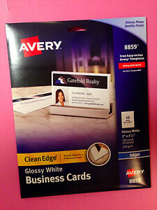 Avery 8859 white glossy clean edge business cards 2 x 35 200 image is loading avery 8859 white glossy clean edge business cards colourmoves