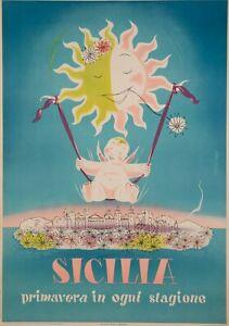 Original-Poster-artass-Croce-Sicile-PALERME-Catane-Syracuse-1952