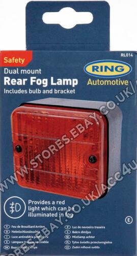 RING RL014 12 V Auto Roulotte approvato quadrato PARAURTI POSTERIORE MOUNT Rosso Nebbia Lampada
