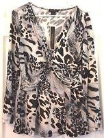 Susan Lawrence Silky Top Long Sleeve Deep V Neck Animal Print Gathered Front M