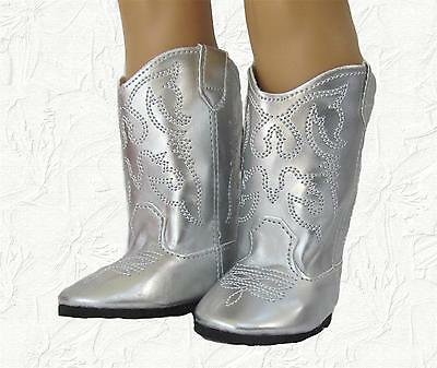 Doll Clothes Boots Cowboy Silver Compatible with American Girl