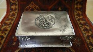 ANTIQUE-IMPERIAL-RUSSIAN-1915-ART-NOUVEAU-SILVER-PLATED-PEWTER-CIGARETTE-BOX