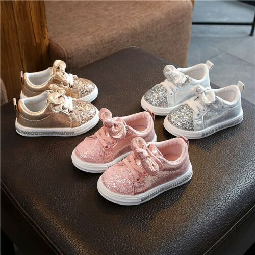 Children Baby Girls Boys Bling Sequins Bowknot Crystal Run Sport Sneakers Shoes