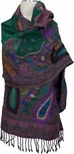 Schal scarf Wolle wool handbestickt hand embroidered  Lila Grün écharpe laine