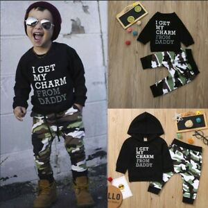 Kids Baby Boy/'s Letter T-shirt Tops Camouflage Pants Toddler Outfits Clothes Set