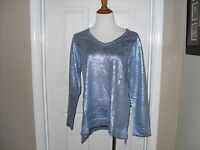Chico's Printed Foil Piper Pullover Sweater Norwegian Blue Size 2=12/14
