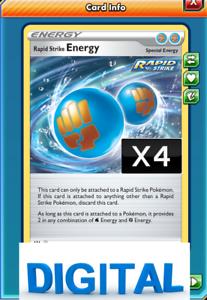 4x RAPID STRIKE Energy online digital card - Battle styles Pokemon TCGO x4
