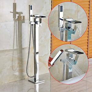 Polished Chrome Freestanding Bathtub Faucet Handheld Shower Floor