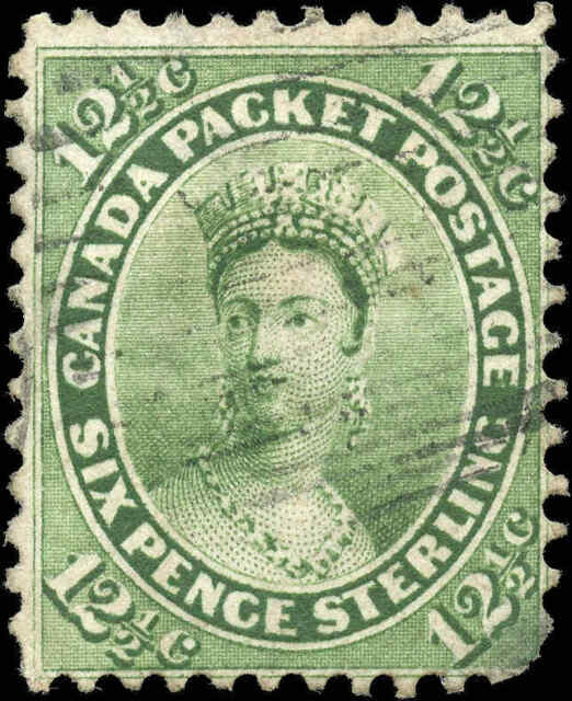 1859 Used Canada 12-1/2c F Scott #18 Queen Victoria First Cents Issue Stamp
