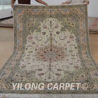 Yilong 6'x9' Handmade Wool Silk Rugs Hand-knotted Persian Wall Wool Carpets 1484